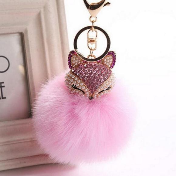 5c2ab8b7f5ec Fox Fur Ball Pom Pom Key chain Bag Charm